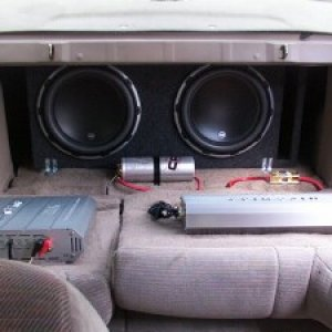 subwoofers facing inside of ride