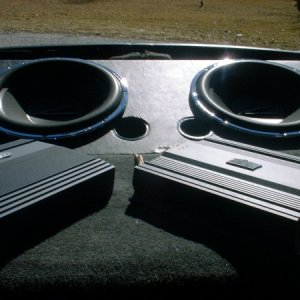 "My 15"" subs in a Trans Am Hatch"