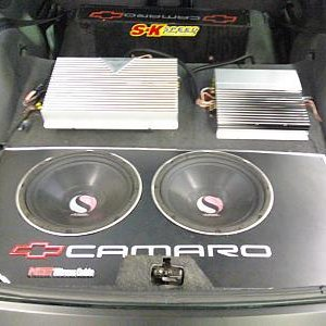 my 1994 camaro z28 with a kenwood ps400m amp and 2  kicker subs. kind of old school.