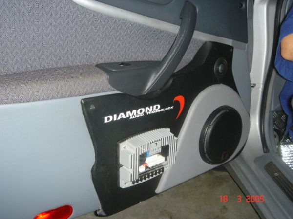 One of Diamond Audio Hex Component Sets inside this car